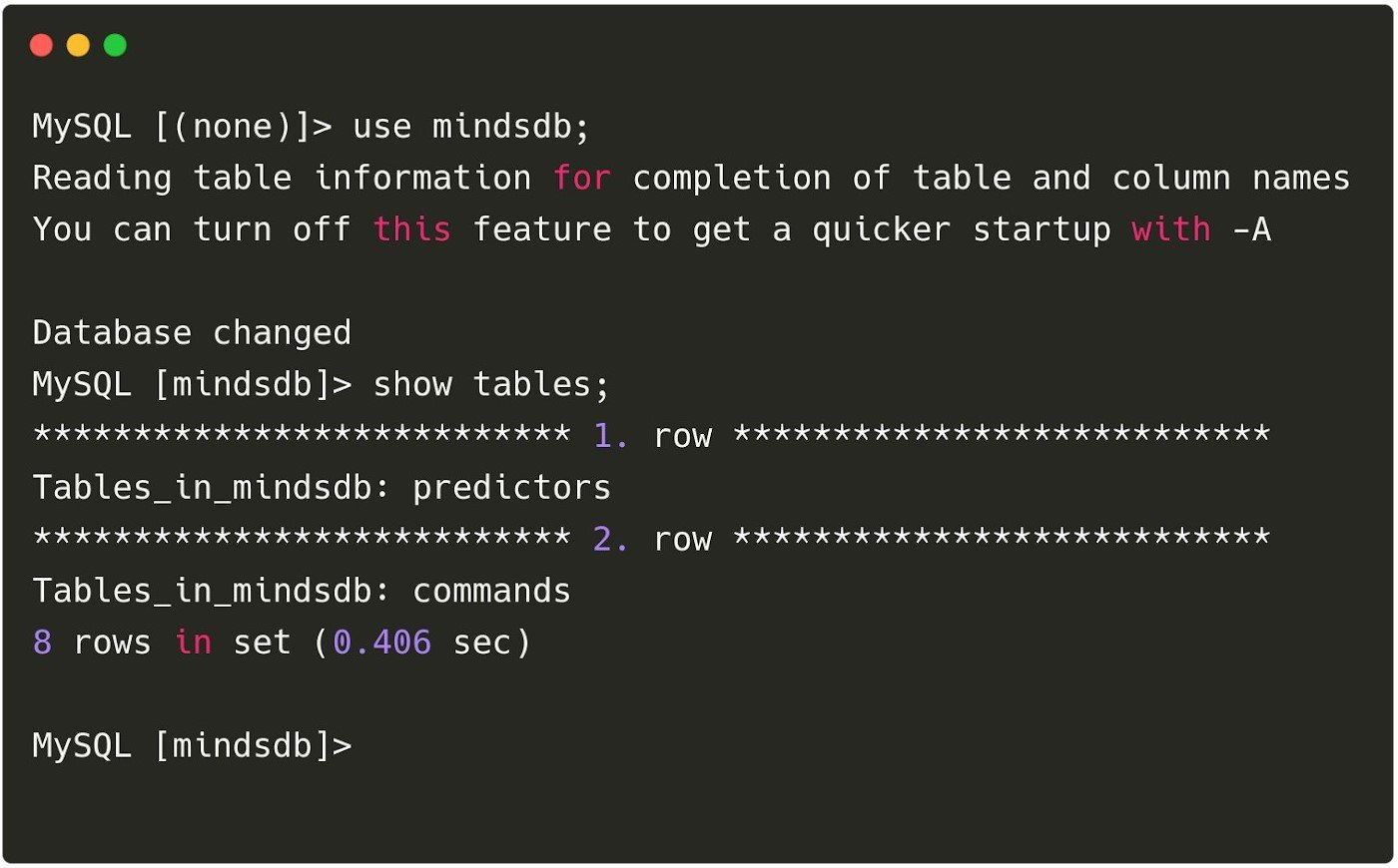 Using SQL Statements to train & query models